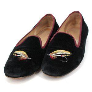 Stubbs & Wootton Black Fishing Loafers Velvet 6.5